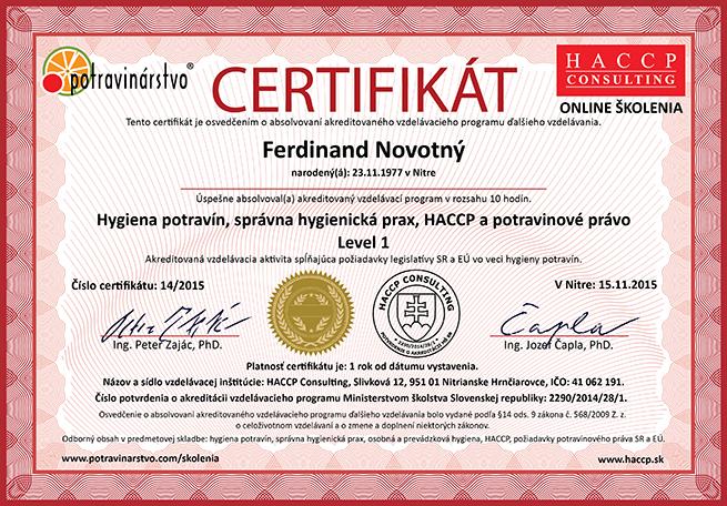 certifikát level 1 hygiena